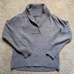 Eddie Bauer Shawl Collar Gray Pullover Sweater, L